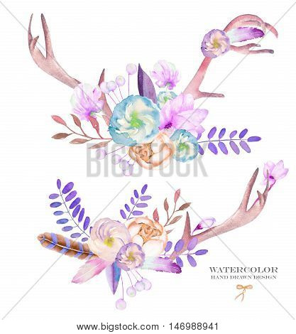 A decorative bouquets with the watercolor floral elements: flowers, antlers, leaves, feathers, arrows and branches, on a white background, for a greeting card, a decoration of a wedding invitation
