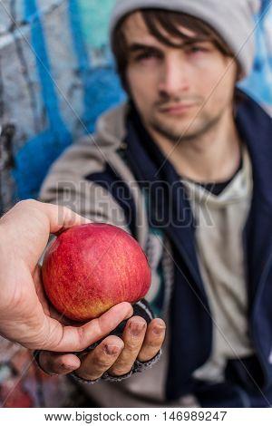 Thankful Eyes Of Homeless Man