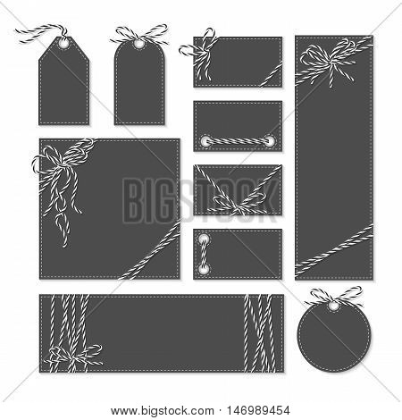 Set of chalkboard cards, tags and labels tied up with black bakers twine bows and ribbons