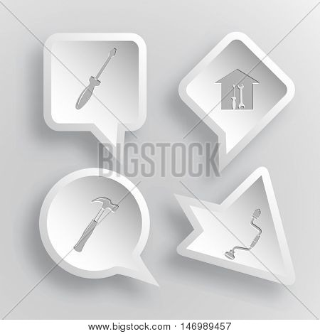 4 images: screwdriver, workshop, hammer, hand drill. Industrial tools set. Paper stickers. Vector illustration icons.