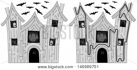 Easy haunted house maze for younger kids with a solution