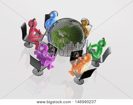 Globe and colored men on the white background, 3D illustration.