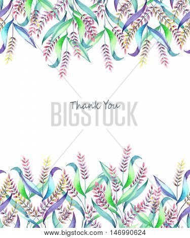 A template of a postcard, decorative place (banner) with an floral ornament of the watercolor spikelets for a text on a white background, a greeting card, a decoration postcard or wedding invitation