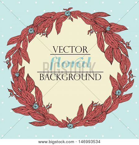 Vector wreath with leaves and peony buds. Vintage floral background. Floral elements for design invitations greeting cards wedding cards.