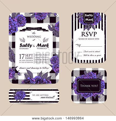 Botanic invitation set with checkered background. Beautiful invitation decorated with peonies