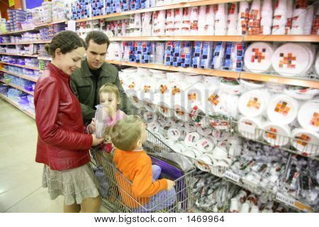 Family In Houseware Shop