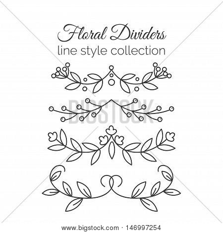 Flourishes. Hand drawn dividers set. Line style decoration. Ornamental decorative elements for notes and bullet jornal. Vector ornate elements design.