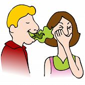 stock photo of stinky  - An image of a man with bad breath talking to a woman - JPG