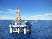 foto of oil rig  - Oil exploration platform in sea - JPG