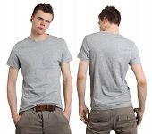 Постер, плакат: Мужчины носить пустой серый рубашка