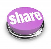 stock photo of polite  - A purple button with the word Share on it symbolizing sharing gifting and generosity - JPG
