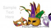 picture of lint  - Several mardi gras masks with gold - JPG