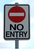 stock photo of no entry  - no entry on a sign against sky - JPG
