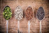 Healthy Superfood: Pumpkin Seeds, Sunflower Seeds, Flax Seeds And Chia poster