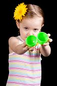 pic of easter basket eggs  - A young girl seems upset because her egg is empty - JPG