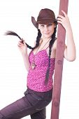foto of bare midriff  - lovely young girl the cowboy with a ladder on a white background close up - JPG