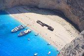 Aerial view on Zakynthos Greece - shipwreck navagio beach