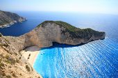 stock photo of shipwreck  - Aerial view on Zakynthos Greece  - JPG