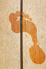 picture of fkk  - One footprint on wood plank in the summer - JPG