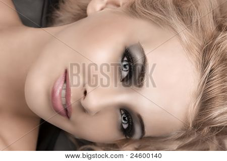 Beauty Portrait Of A Blonde With Smokey Eyes