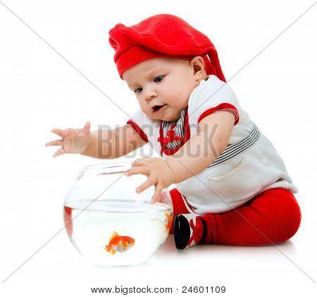 Cute little baby fishing