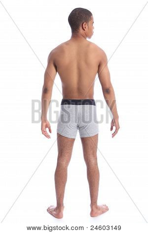 Back Of Semi Naked Mixed Race Healthy Young Man