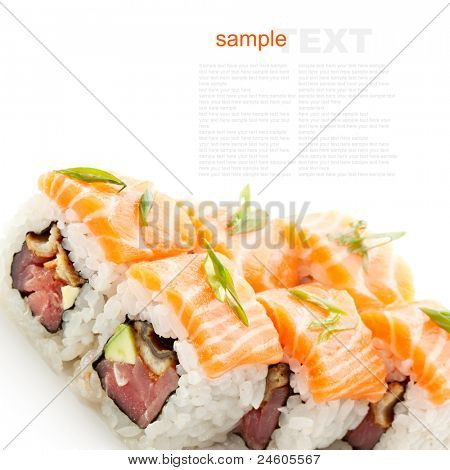 Fish Maki Sushi - Roll with Tuna, Eel and Avocado inside. Topped with Salmon and Lettuce