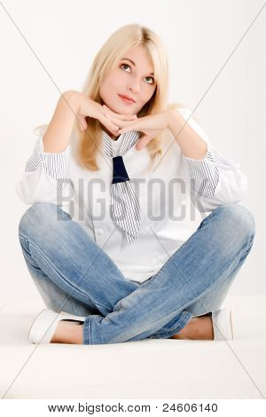Positive woman sitting