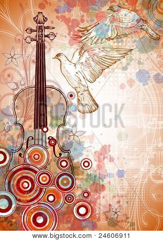 Violin, music sheets, flying doves on the color paint background of stylized ornament &  orchid flowers. Bitmap copy my vector ID 71736226