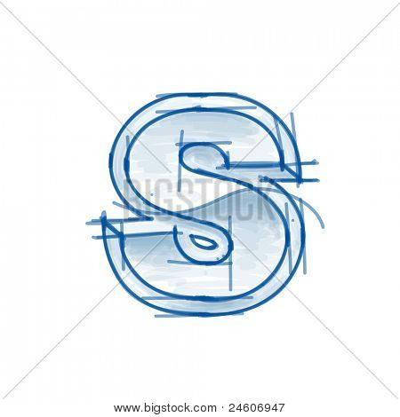 Blueprint font sketch - letter S - marker drawing. Bitmap copy my vector