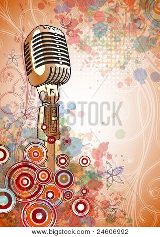 Retro Microphone & Floral calligraphy ornament - a stylized orchid & color paint background. Bitmap copy my vector ID 71589127
