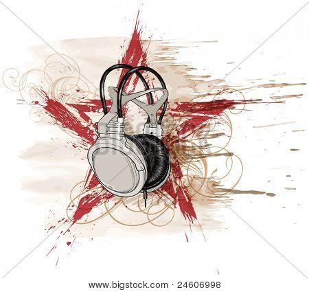 headphones, red grunge star & floral calligraphy ornament, watercolor background. Bitmap copy my vector ID 71736601