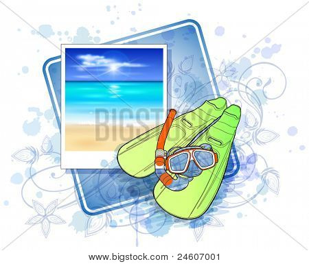 set of diving - flippers and a mask with a tube & floral calligraphy ornament - a stylized orchid, color paint background. Bitmap copy my vector ID 71735857