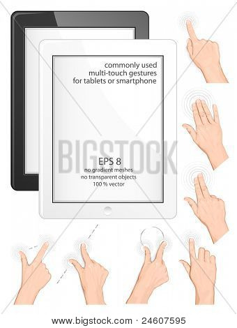 Vector set of commonly used multi-touch gestures for tablets or smartphone. Black and white tablets (smartphone)
