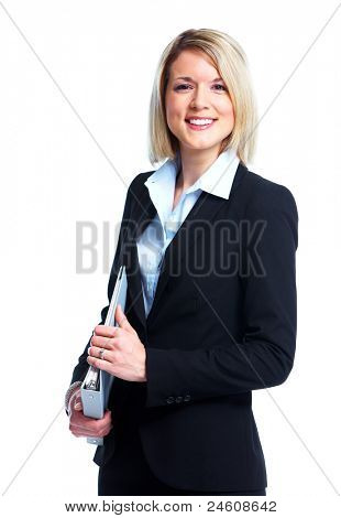 Professional financial adviser business lady. Isolated over white background.