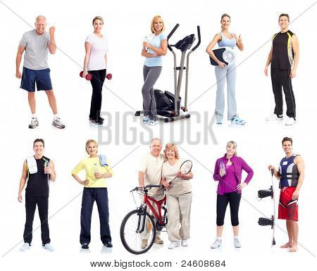 Fitness Menschengruppe. Gesundheit und Sport. isolated on white Background.