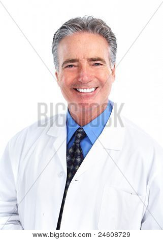 Happy dentist doctor. Health care. Isolated over white background.