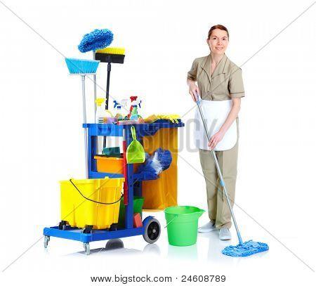 Sauberer Magd Frau mit Mop und Hausmeister. Isoliert auf weißem Hintergrund...