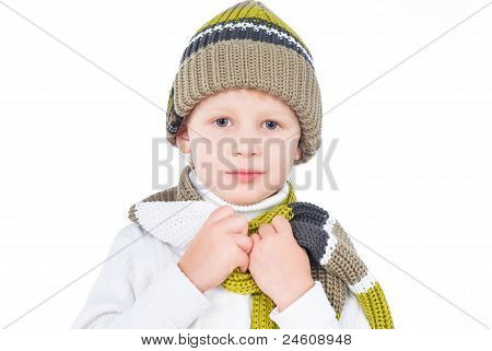 Little Boy Wearing Winter Outfit Isolated On White Background