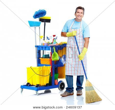 sauberer Arbeitnehmer Mann mit Janitor Cart. isolated on white Background...