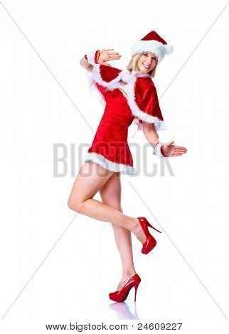 Sexy santa helper woman dancing. Christmas party. Isolated over white background.
