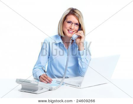 Professional secretary business woman calling by phone. Isolated on white background