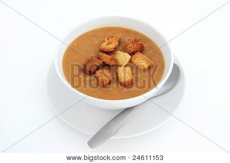 Lentil Soup And Croutons