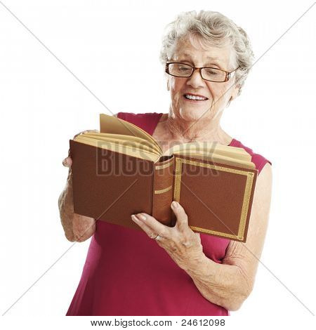 portrait of senior woman reading a book over white background