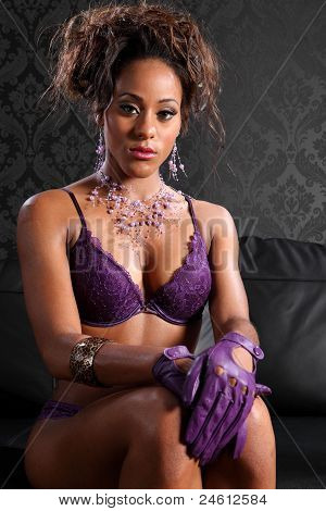 Sexy African American Glamour And Lingerie Model