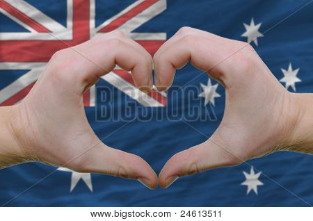 Heart And Love Gesture Showed By Hands Over Flag Of Australia Background