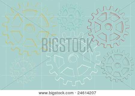 Sketch Faded Illustrated Gears On Blue Background