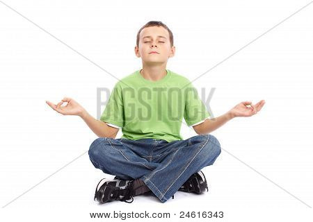 10 Years Old Boy Meditating