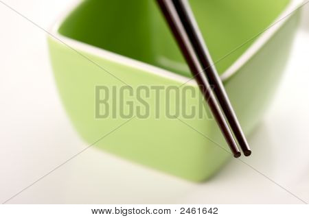Chopsticks & Green Bowl