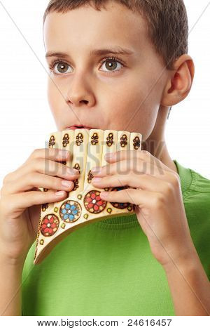 Boy Playing Panpipe